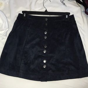 Faux Suede Navy Skirt